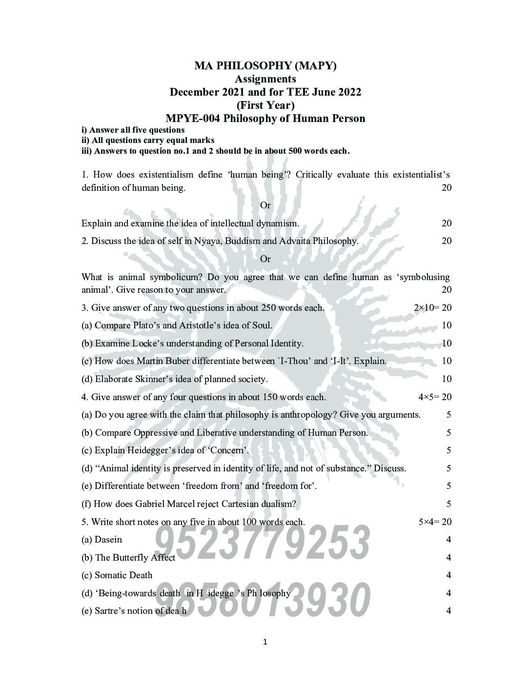 IGNOU MPYE-004 Solved Assignment in english 2021-22