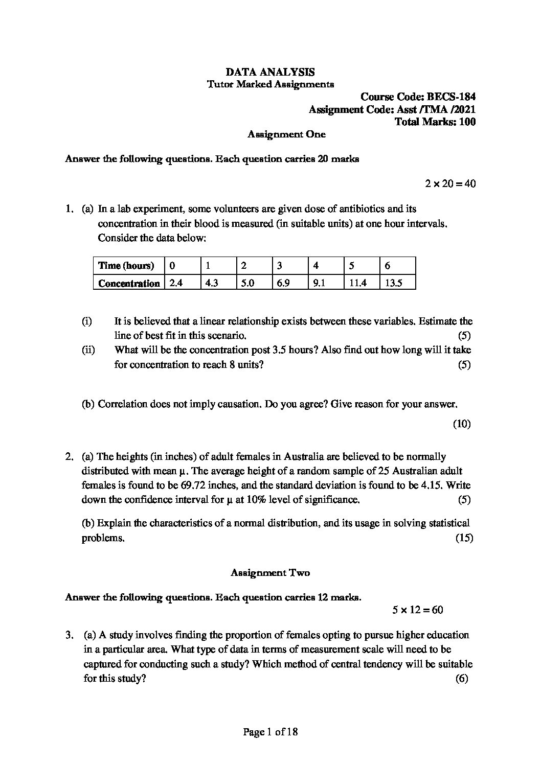 BECS-184 DATA ANALYSIS in English Solved Assignment 2020-2021