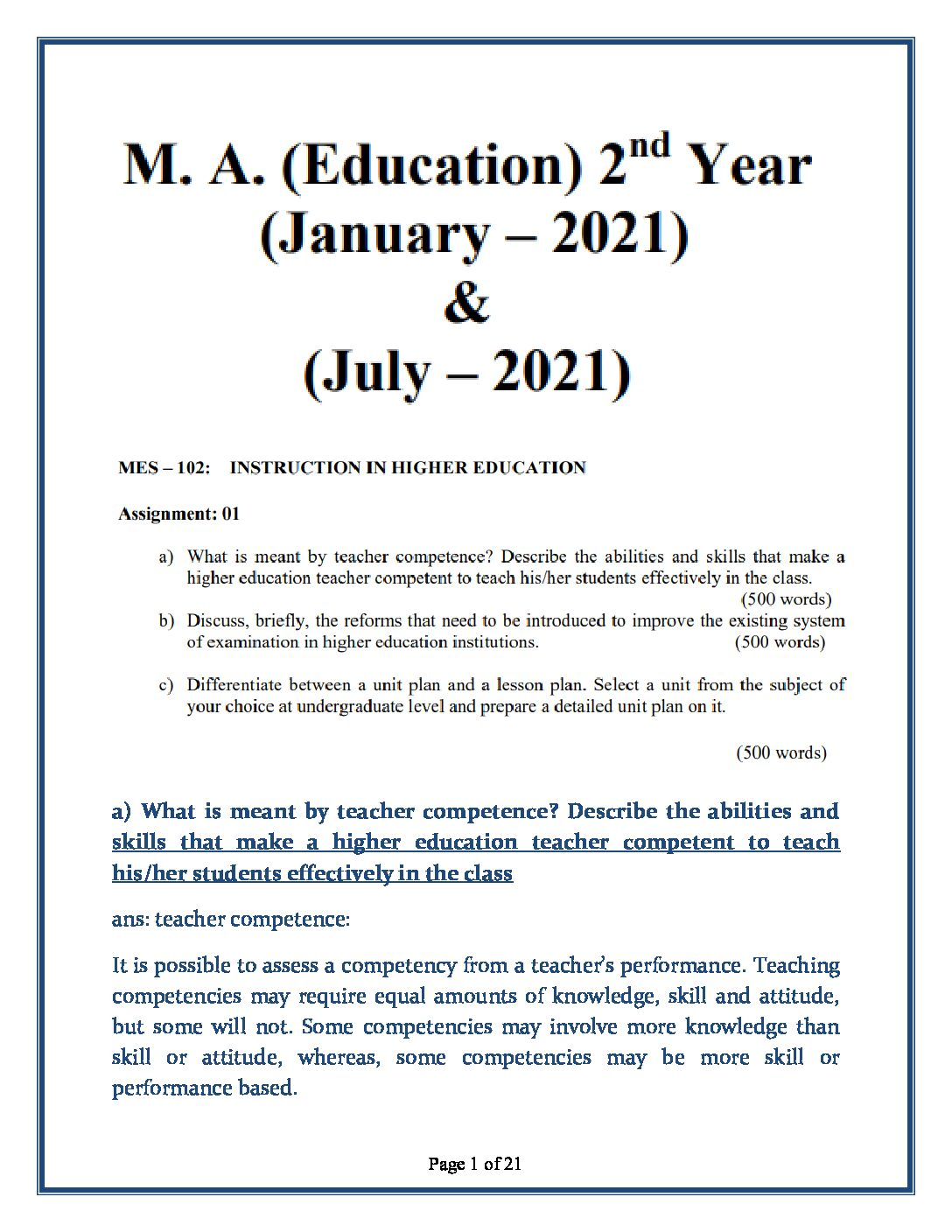 MES-102 Instruction in Higher Education Solved Assignment 2021 in English