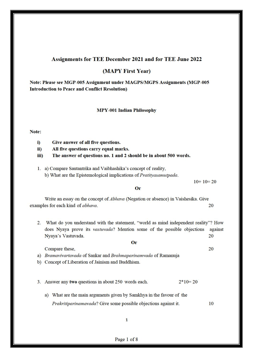 IGNOU MPY-001 Solved Assignment 2021-22