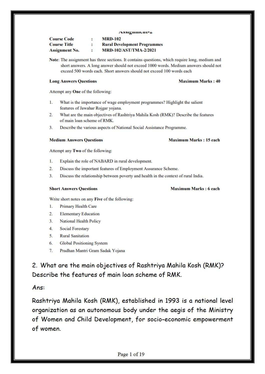 MRD-102 (PGDRD) Rural Development Programmes in English SOLVED ASSIGNMENT 2021