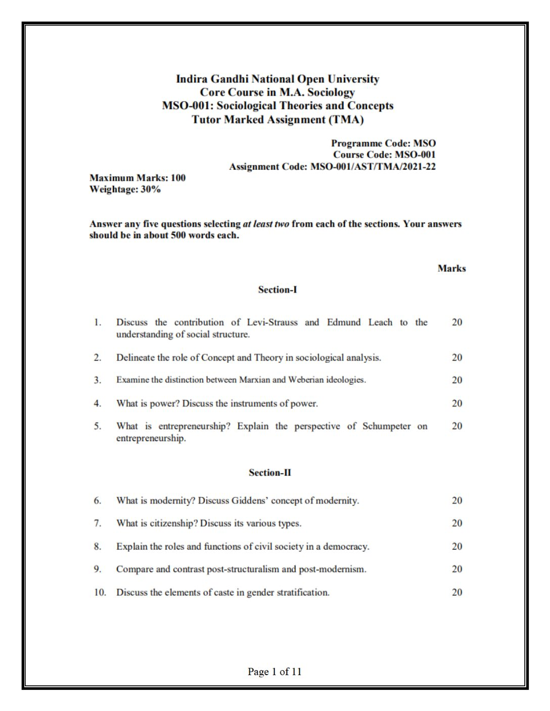 MSO-001 Sociological Theories and Concepts Solved Assignment 2021-22 in English